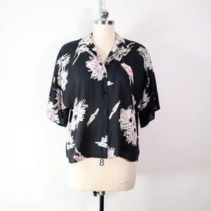 vintage 80s tropical palm print button shirt top